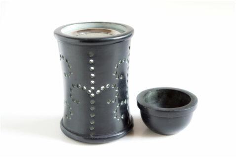 Aromalámpa és gyantaégető - fekete zsírkő - 10,5 cm
