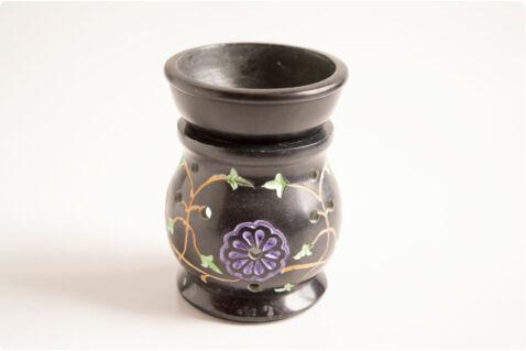 Aromalámpa virágmintával - fekete zsírkő 10 cm