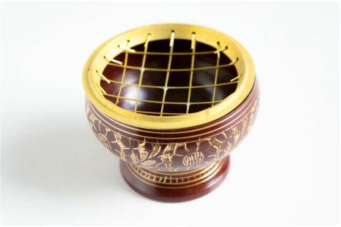 Füstölőtartó tálka barna - rácsos - sárgaréz