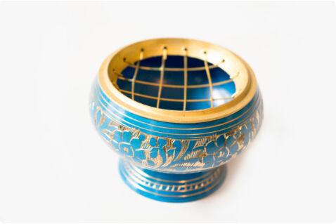 Füstölőtartó tálka kék - rácsos - sárgaréz