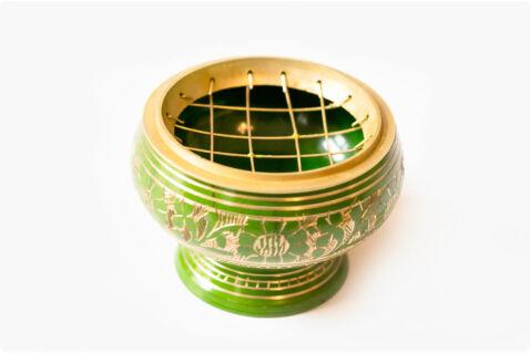 Füstölőtartó tálka zöld - rácsos - sárgaréz