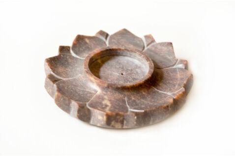 Mécses és füstölőtartó lótusz - barna zsírkő
